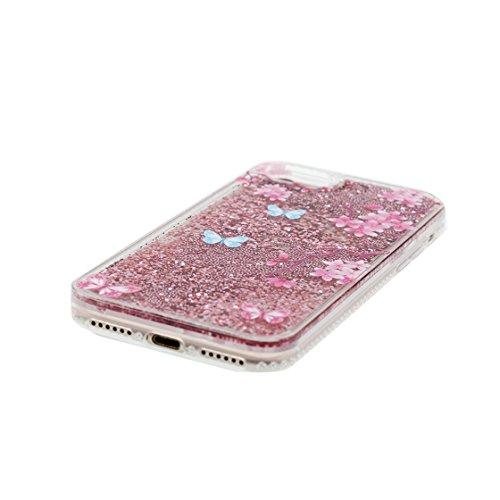iPhone 7 Custodia / iPhone 7 Copertura / Cartoon farfalla flower Beautiful, Liquid Flowing Bling Shell Cover Skin Materiale in gomma trasparente al silicone contro graffi, iPhone 7 Case 4.7 color 1