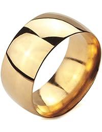 MunkiMix Ancho 10mm Acero Inoxidable Anillo Ring Banda Venda Oro Dorado Alianzas Boda Hombre,Mujer
