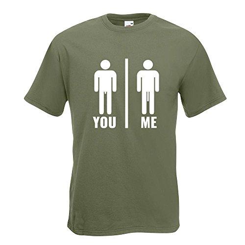 KIWISTAR - You vs. Me - Längenvergleich T-Shirt in 15 verschiedenen Farben - Herren Funshirt bedruckt Design Sprüche Spruch Motive Oberteil Baumwolle Print Größe S M L XL XXL Olive