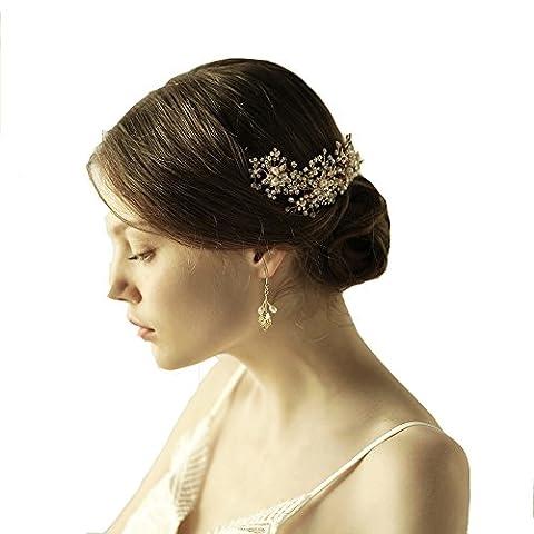Déesse Doré Fleur Bandeau Tiara–Cristal Perle de mariage Accessoires Cheveux avec ruban