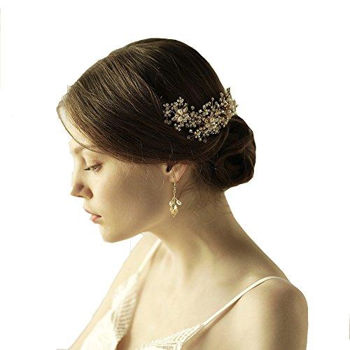 Göttin gold Blume Stirnband Tiara Brautschmuck Hochzeit Perlen Kristall Haar-Accessoires Mit Band (Toga Kostüme Mit Blättern)