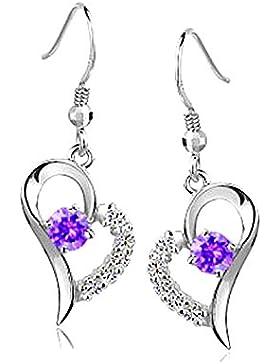 Kim Johanson Herz Ohrringe Lila Weiß 925 Sterling Silber mit Zirkonia Steinchen besetzt Ohrhänger inkl. Geschenkverpackung