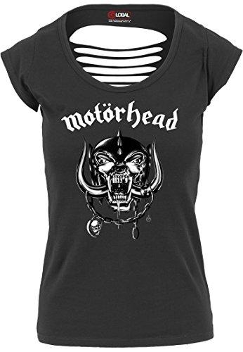 Urban Classics Damen T-Shirt Motörhead Logo Cutted Back, Farbe:black;Größe:L