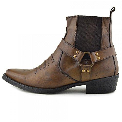 mens-cowboy-leather-ankle-biker-western-boots-uk-13-eu-47-tan