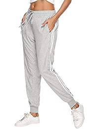 d4816dd5b2b8e Aibrou Womens Jogger Pants 100% Cotton Tracksuit Bottoms Sweatpants  Drawstring Waist with Pockets for Running