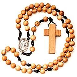 Chapelet catholique en bois d olivier fait main en France avec médaille miraculeuse