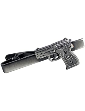 Hand Gun Munition Pistole Revolver Krawatte Clip Silber Schwarz Hochzeit Bar Schließe