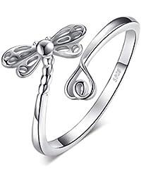 669c235dd896 JewelryPalace Anillo Abierto Ajustable Sueña Libélula Con Cola larga Amor  Caña ...