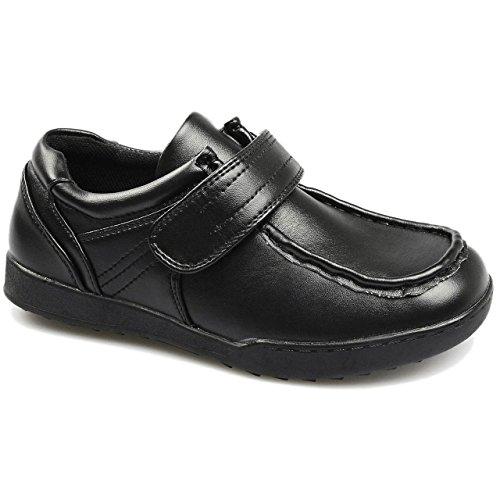 Chaussures formelles pour enfant/garçon Idéal pour rentrée scolaire/mariage/uniforme Fermeture Velcro avec gousset Similicuir Black / Oliver