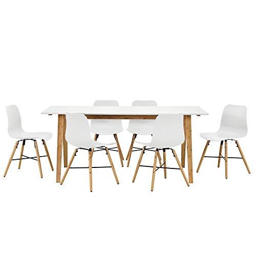 [en.casa] Design Esstisch mit 6 Stühlen weiß/Bambus (180x80cm) Sitzgruppe