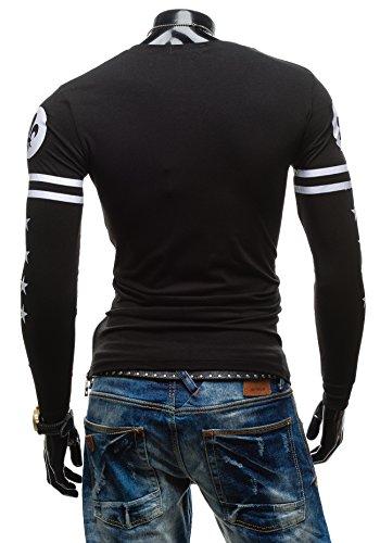 BOLF Herren T-shirt Figurbetont Langarm Longsleeve X-NAME 2391 Schwarz