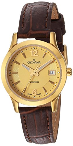 GROVANA 3209.1511 women's quartz Watch with gold Dial analogue Display and brown leather Strap 3209.1511