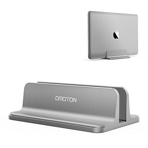 Vertikale Computer (OMOTON verstellbarer vertikalen Laptop Ständer, Aluminium Platzsparender Ständer für alle Handys und Notebooks - Perfekt für Macbook, MacBook Air, MacBook Pro, Ultrabook, Lenovo und andere, grau)