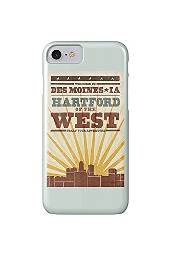 Des Moines, Iowa - Skyline and Sunburst Screenprint Style (iPhone 7 Cell Phone Case, Slim Barely There) (Des Moines Skyline)