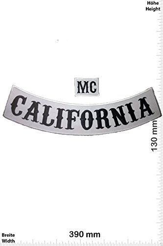 Patches - Sons of Anarchy- California + MC - white - 39 cm - BIG - Bigpatch Biker - Iron on Patch - Applique embroidery Écusson brodé Costume Cadeau- Give Away""