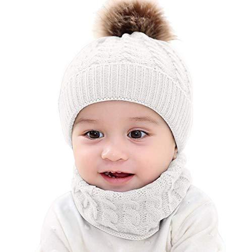 MHOYI Bebé Conjunto Bufanda & Sombrero de Invierno,Gorro de Punto para Bebé con Pompón Grande,Lana Knit Gorro Mapache Caliente,Adecuado para Bebé De 0-3 años(Blanco)