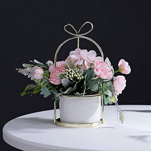 Czemo fiori artificiali in vaso pianta finta di plastica piante artificiali con vaso fiori finti per decorazioni di casa e ufficio (rosa)