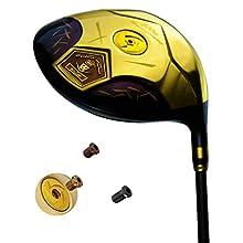 wazaki Japan 14K Gold Finish Cyclone III High COR Close Face Draw Titanium Driver Golf Club+Headcover (11.5 Degree Loft,Regular Flex,50g Light Graphite Shaft,Right Handed,500cc unconfirming size)