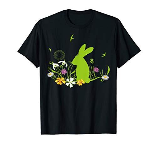 Hase Osterhase Silhouette Ostern Frühling Blumen T-Shirt