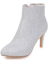 Easemax Damen Sexy Low Ankle Pailetten Blockabsatz Stiefel Mit Reissverschluss Schwarz 41 EU