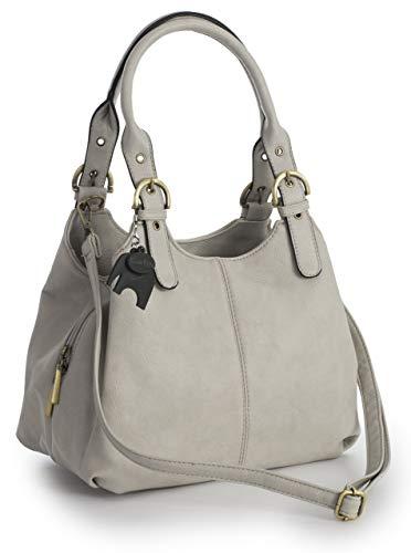 Big Handbag Shop Mehrfachtaschen Mittlere Größe Umhängetasche/Schultertasche für Frauen - Mit langem Schulterriemen und eine kleine Taschencharme (Mit Schwarz Einfassung - Hellgrau) -