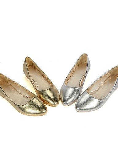 ZQ YYZ Damenschuhe - Ballerinas - L?ssig - Kunstleder - Flacher Absatz - Komfort / Rundeschuh - Silber / Gold golden-us5.5 / eu36 / uk3.5 / cn35