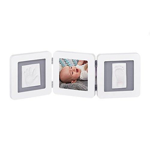 Baby Art 34120052 - Marco triple para foto con material para huella de pie y mano (bordes redondeados), color blanco y negro