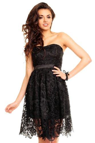 Elegantes kurzes Cocktailkleid aus Spitze, Spitzenkleid in verschiedenen Farben Schwarz