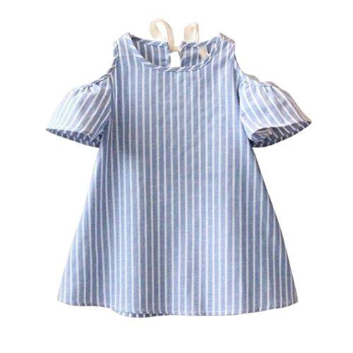 Venta caliente !Ropa para niños, FeiXiang♈Vestido de niña princesa vestido de manga corta a rayas sin tirantes primavera y verano el último (13/14T, Azul)