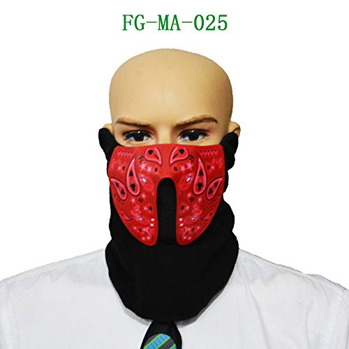 Price comparison product image Rawdah Halloween Sound Reactive Half Face LED Light Up Mask Dance Rave EDM Plur Party