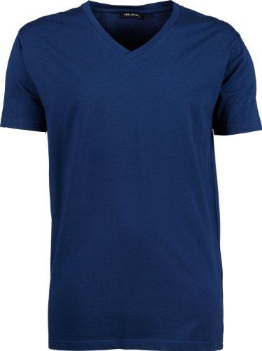 TJ401 Herren Stretch T-Shirt V-Neck Fashion Shirt - 2er Pack Indigo