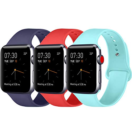 ATUP Armband Kompatibel für Apple Watch Armband 42mm 44mm, Weich Silik on Ersatz Armband für iWatch Series 4, Series 3, Series 2, Series 1 (*3-Pack Navy Blue+Orange Red+Light Blue, 42mm/44mm-S/M) -