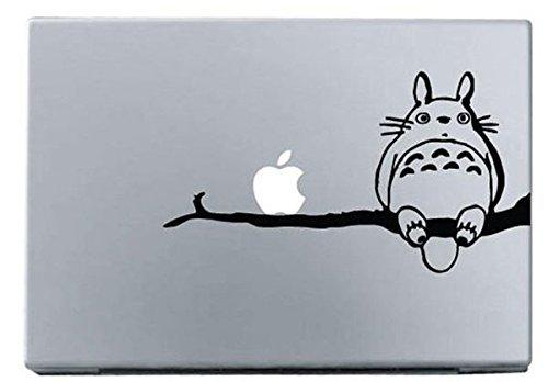 Vati Blätter Removable kreative Karikatur Mein Nachbar Totoro Stehend auf einem Baum Aufkleber Aufkleber Skin Art Schwarz für Apple Macbook Pro Air Mac 13