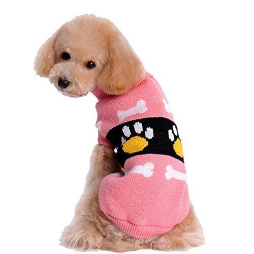 YiJee Haustier Welpen Winter Kleidung Weihnachten Warm Verdickung Gestrickte Pullover Pink XS