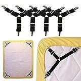 ToomLight 4 PCS Triángulo Ajustable Tirantes elásticos Agarrador Pinzas Clip para sábanas, Fundas de colchones, Cojines de sofá