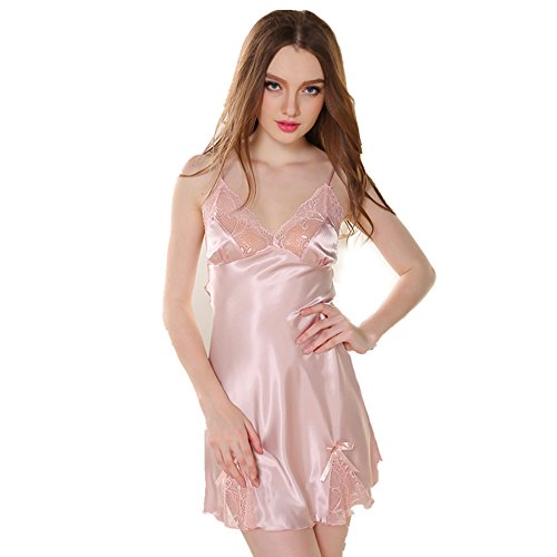 Rainbow Fox 2017 Nuovo sexy indumenti da notte Da donna biancheria da notte biancheria intima sexy pigiama Seta Raso bowknot Pink