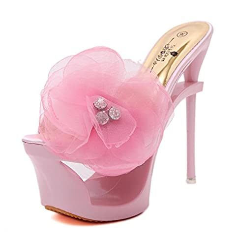 Women's Ladies High Heel Shoes New Sexy Peep Toe Platform Shaped Stiletto Diamond Flowers Satin Sandals Slippers Black Silver Party Evening Prom , Pink , EUR 39/ UK