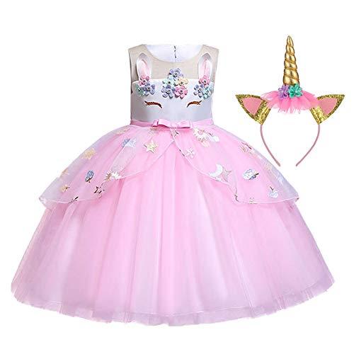 LZH Mädchen Blume Einhorn Kleid Cosplay Festliche Hochzeit Geburtstagsfeier Prinzessin Carnival