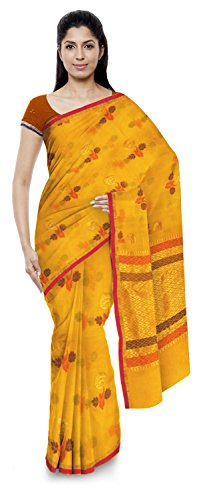 Akram Sarees Women's Kota Doria Handloom Cotton Silk Saree With Blouse Piece (Yellow)