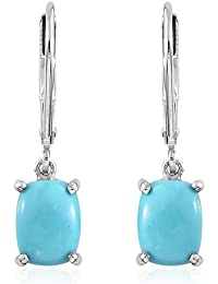 Sleeping Beauty Turquoise Lever Back Earrings in Platinum Overlay Sterling Silver 2 Ct