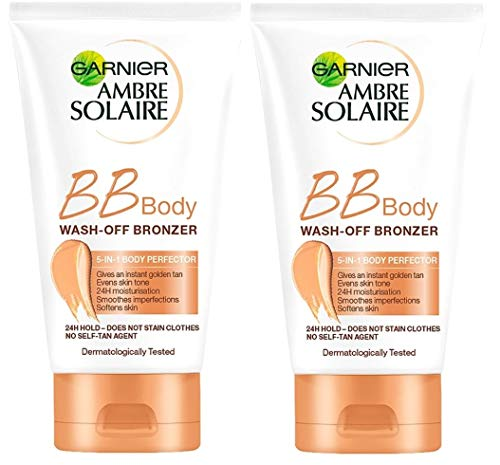 Garnier Ambre Solaire BB Body Wash Off Bronzer 150 ml 2er-Pack (Body Glitter Spray)