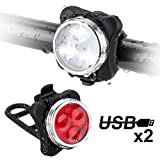 Migimi Fahrradlicht LED Set, Fahrradlichter USB Wiederaufladbare LED Fahrradlicht Wasserdicht, 4 Licht-Modi, Frontlicht und Rücklicht Fahrradlampe Set - Beleuchtung für Fahrrad, Mountainbike, eBike, Rennrad