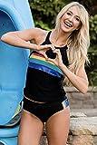 Boldgal Girl's Swimwear Retro Sporty Tankini (Black)