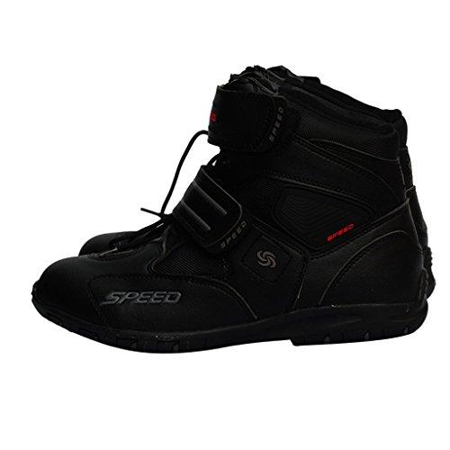 Sharplace Scarpe Moto Caviglia Corta Impermeabile Anti Scivolo Corsa Equitazione - Nero 40