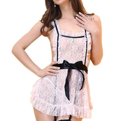 Deluxe Sexy Dienstmädchen-Kostüm für Damen, 3 Teiliges Set inkl. Schürze, Haube und String, - Sexy 3 Teiliges Kostüm