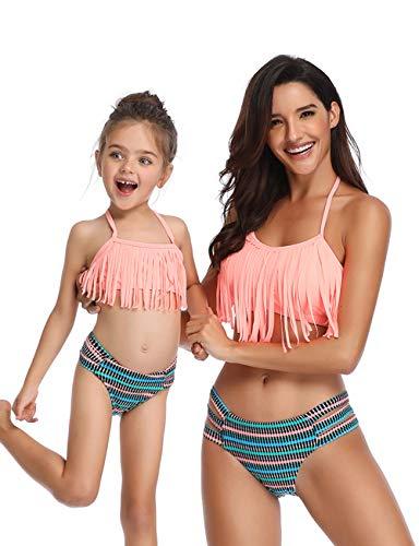 FeelinGirl Madre e Hija Bikini de 2 Piezas Volantes Estampado Floral Bañador Bandeau Sexy y Triángulo...