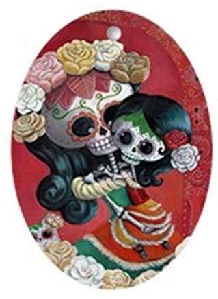 Kysd43Mill Mexikanische Skelette - Mutter mit Tochter, oval, Keramik, Weihnachtsschmuck für Weihnachtsbaum, Dekoration für Kinder, Mädchen und Frauen