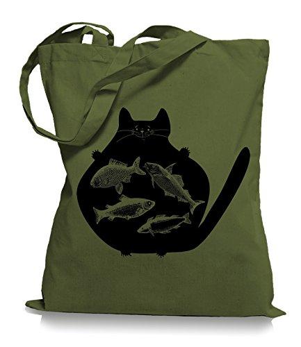 Cat Fish Stoffbeutel | Katzen Fisch Tragetasche Fische Katze Olive Green