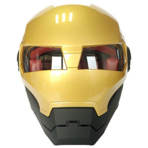 XYL Visage intégral Casque de Moto Iron Man Machine de Guerre certifié D.O.T Motocross personnalité Casque de Moto-Masque Ouvert Scooter Moto transformateurs Casque,style3,L