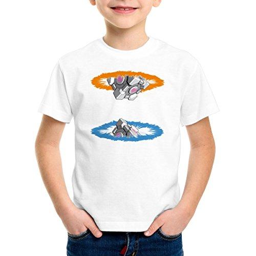 style3 Companion Cube Kinder T-Shirt, Farbe:Weiß;Größe:164